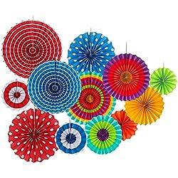 Rocita 12Pcs Abanicos de Papel Multicolor Decoración Celebración Ventilador de Papel Fiesta Cumpleaños Boda Colores Lunares