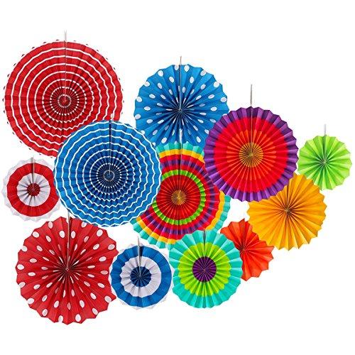 Rocita 12Pcs Abanicos de Papel Multicolor Decoración Celebración Ventilador de Papel Fiesta...
