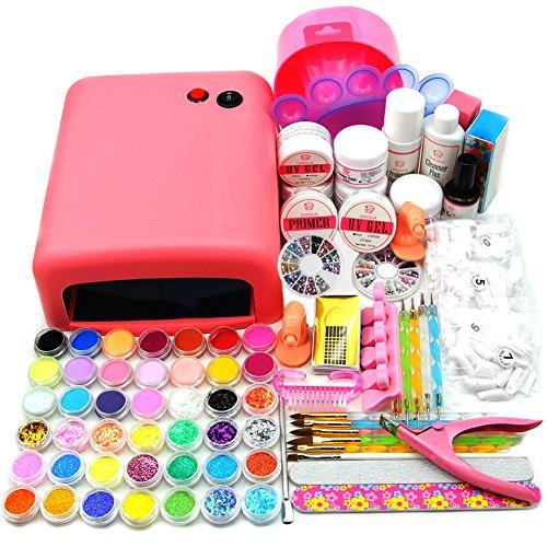 Coscelia kit di unghie arte 36w lampada uv 75ml liquido acrilico 20 colori polvere acrilica 12 glitter in fili unghie decorazioni nail tools