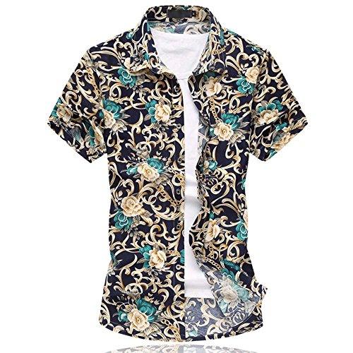 Cloudstyle Herren Urlaub Strand Hawaii Blattaufdruck-Hemd 663grau