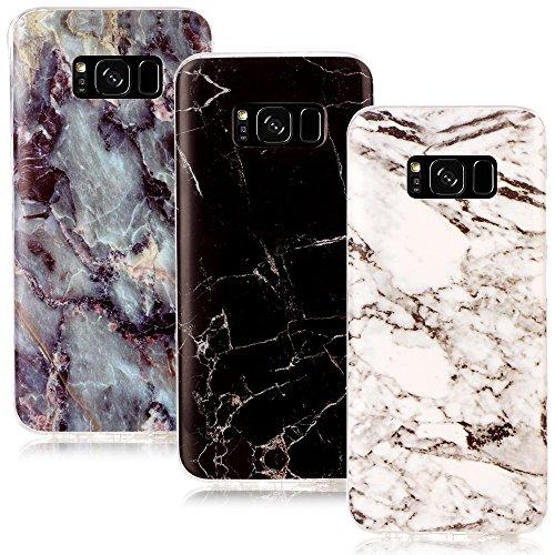 �r Set: 3 x TPU Gummi Hülle für Samsung Galaxy S8 Schutzhülle Marmor Muster schwarz weiß bunt (Marmor-sets)