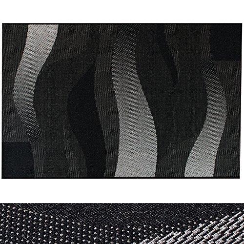 Design Teppich Waves | moderne Flachgewebe Teppiche mit Trend Wellen Muster | in 2 Größen für Wohnzimmer, Esszimmer, Schlafzimmer etc. | schwarz / grau 120x170 cm