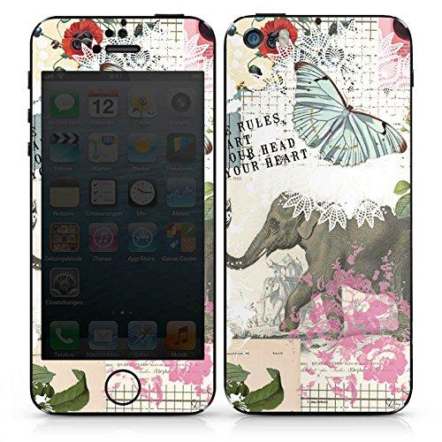 Apple iPhone SE Case Skin Sticker aus Vinyl-Folie Aufkleber Elefant Vintage Spruch DesignSkins® glänzend