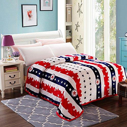 shinemoon Super Soft tutte le stagioni collezione ispessimento coperta in pile lenzuolo copriletto divano Cover Rosso/Blu strisce stelle Touch peluche campeggio coperte coperta/Full/Queen/King Size