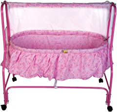 Mee Mee Baby Cradle with Swing and Mosquito Net (Pink)