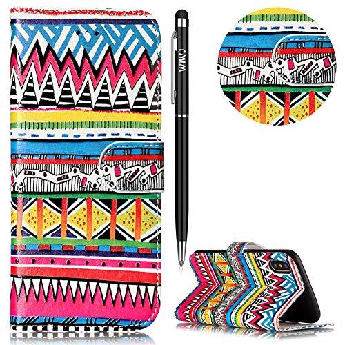 WIWJ Schutzhülle für iPhone XR Handyhülle Leder Case für iPhone XR Hülle [Kreativ Muster Geprägtes Leder Case] Hülle für iPhone XR-Stammes-Muster - Geprägtes Leder Stamm