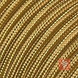 Textilkabel für Lampe, Stoffkabel 3-adrig (3x0,75mm²) * Made in Europe * Gold - 3 Meter
