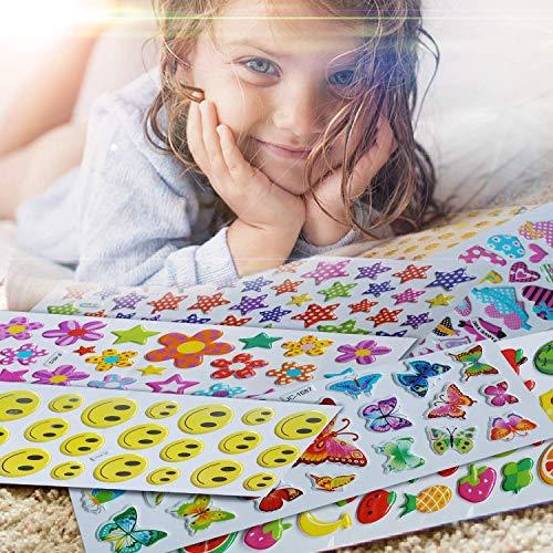 r, Haice Stickerbögen kinder / 3D geschwollene Aufkleber / 3D Puffy Aufkleber aus 800, 15 Stickerbögen für Kinder & Babys umfasst Schmetterling,Obst,Fisch,Herz,Smileys und Sterne. ()