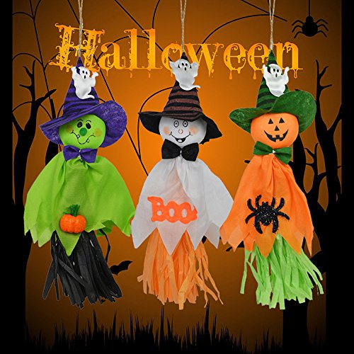 Halloween Dekoration Hängend Geist, Guizen 3 PCS 3 Arten Handmade Papyrus-Ghost Anhänger Verzierungen Spectre furchtsame Puppen Dekorative Requisiten für Outdoor Indoor Halloween Partei