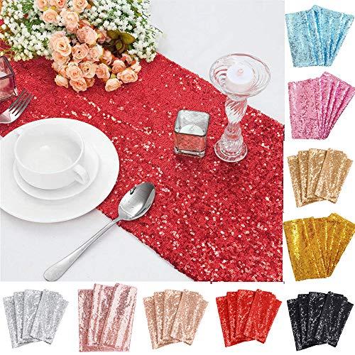 TtS 30cm x 275cm Paillettes Chemin de Table à Sequins Paillettes Nappes Mariage Réception Noël Prom Décoration (Red)