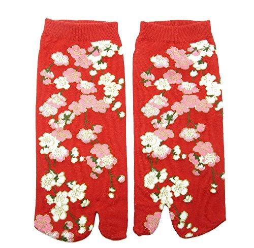 Tabi Socken 'Hanabira' Japanische Split 2-toe Ninja Flip Flop Geta Sandale Knöchel Socken (Ninja Kostüme Authentische)