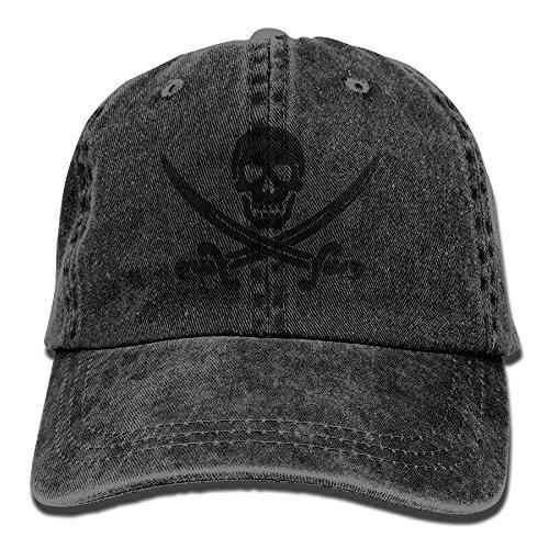 Men&Women Skull Swords Pirate Adjustable Vintage Washed Denim Cotton Dad Hat Baseball Hat Natural