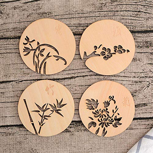 GHGYUF 4pcs Chinese Flowers Wooden Carved Home Coasters Table Coffee Bar Cup Mat Tea Coaster,4pcs - Carved Wooden Coaster