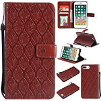 Kucosy Flip Handytasche für iPhone 7 Plus/8 Plus, PU Leder Brieftasche Schutzhülle Schöne Blumen der Weinlese für Mädchen Flip CaseTasche Flip Brieftasche Ledertasche für iPhone 7 Plus/8 Plus, Braun