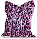 Patchhome Sitzsack und Sitzkissen Camouflage Eckig - Pink - 100x70cm in 5 Farben und 7 versch. Größen