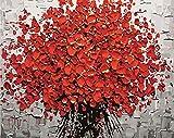 Guume Rahmenlose Rote Blume DIY Malen Nach Zahlen Handgemalte Acrylbild Wandkunst Modernes Ölgemälde Für Hochzeitsdekoration 40X50 cm