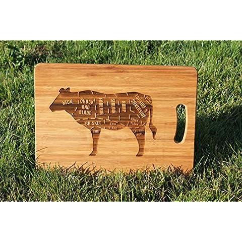 'British Beef Mucca Personalizzabile con bistecca tagli' e tagliere