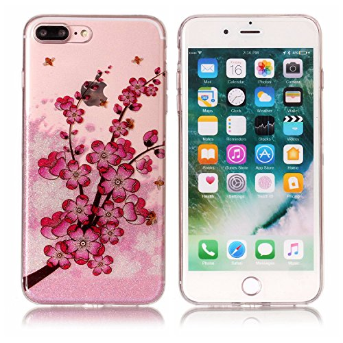Coque iPhone 7 Plus , E-Lush Apple iPhone 7 PlusEtui TPU Plume Motif Mode Etui Housse Ultra Mince Bumper Housse Clear Silicone Gel Souple Flexible Premium TPU Coque Cover Case Anti-Rayures, Anti-Chocs Fleur