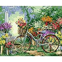 Pintura Al Óleo De Numbers Landscape Pictures Pintura De La Lona Para La Sala De Arte De La Pared Flores Y Bicicletas Decoración Del Hogar,Withframed
