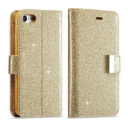 LCHULLE Für iPhone 5 Hülle, iPhone 5S Brieftasche, iPhone SE Lederbezug, Glänzend Funkeln Bling PU-Leder Flip Folio Ständer Brieftasche Schutzhülle mit 6 Kartensteckplätze-Gold