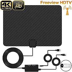 Antenne TV Intérieur, [Version Dernière] XBoze Antenne TV Digital 50+ Mile Range avec Signal Amplificateur Booster, USB Alimentation et 16,5FT de Haute Performance Câble Coaxial (Noir)