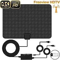 TV-Antenne, [Verbesserte Version] XBoze 80KM (50 Meilen) Freeview Digitale HDTV Antenne für DVB-T / DVB-T2 Zimmerantenne Fernseher Antenne TV mit Verstärker und 16,5FT Koaxialkabel (Schwarz)