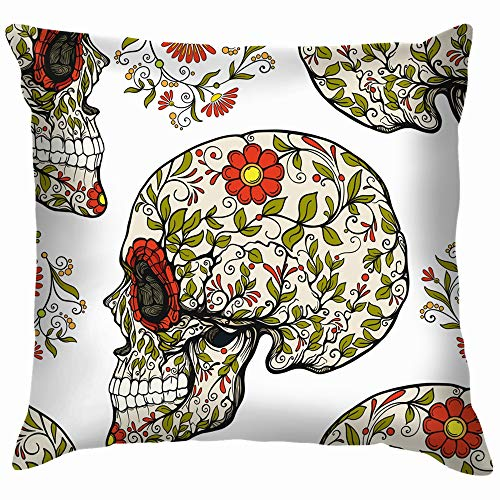 vintage cap Sugar Skull Floral Holidays Nature Throw Pillow Case Cushion Cover Pillowcase Watercolor for Couch 18X18 Inch (Halloween Horror Nights Voodoo)