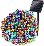 Qedertek Guirlande Solaire Extérieure, 20M 200 LED Guirlande Lumineuse Solaire Etanche, 8 modes d'éclairage Lampe Décoratives pour Jardin, Patio, Clôture, Anniversaire, Mariage (Multicolore)