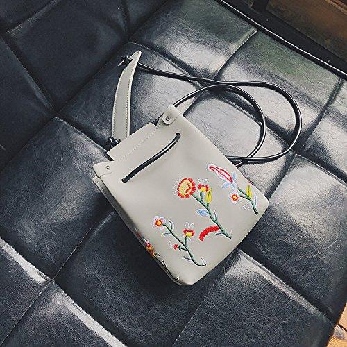 Kordelzug Cross-body-tasche (Otomoll Weibliche Koreanische Stickerei Kordelzug Bucket Bag Mini Handy Tasche Small Crossbody Paket Schultertasche, Grau)