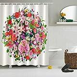 LNAG DuschvorhäNge 3D-Digitaldruck-Polyester-Geruchsfreie Umgebung VerbläßT Nicht Blume , 180*180