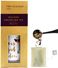 Tea Treasure - Oolong Darjeeling Tea - 15 Tea Bags - Oolong Tea Loose Leaves - Helps in reducing Weight, Regulate Cholesterol and Gives The Skin a Healthy Glow - Loose Leaf Tea Handmade Tea Bags.