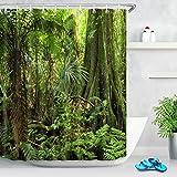 LB tropischer Dschungel Wald grüner Baum Blätter Duschvorhang Dekor Badezimmer mit Haken wasserdichtes Polyestergewebe Anti-Schimmel 180x200