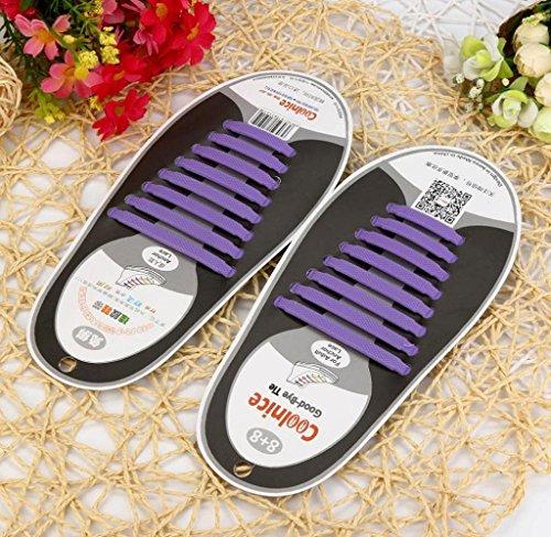 Todos Ténis Silicone Roxo Amcool Não Sapato Unidades Encaixar Atacadores Elástico Laço De 16 Unisexo Definir CqUC7