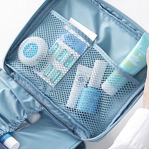 THEE Reise Kosmetiktasche Damen Aufbewahrungsbeutel wasserdichte Makeup Organiser Blau Blümchen