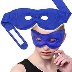 Maschera Gel per Occhi, Riutilizzabile Terapie Calda & Fredda per gonfi, cerchi scuri, Confortevole per Alleviare Gli Occhi con Cinturino Regolabile, per Uomo e Donna.