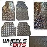 silber Metall metallic Aluminium Riffelblech Look 4 Stück Universell Fußmatten Satz