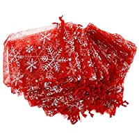 CALISTOUK 50PCS Snowflake Pattern Organza Bags Christmas Gift Candy Wedding Favour Pouch 9*12CM White