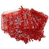 calistouk 50Schneeflocke Organza Beutel Geschenk Weihnachten Candy Wedding Favour (9* 12cm, weiß, 9*12cm