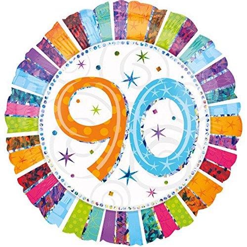 Folienballon 90 GLITZER XXL 45cm, Luftballon zum Geburtstag + PORTOFREI mgl + Glückwunschkarte + Helium & Ballongas geeignet. High Quality Premium Ballons vom Luftballonprofi & deutschen Heliumballon Experten