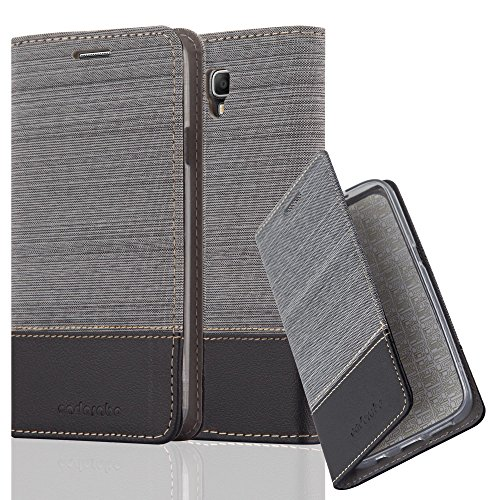 Cadorabo Hülle für Samsung Galaxy Note 3 NEO - Hülle in GRAU SCHWARZ – Handyhülle mit Standfunktion und Kartenfach im Stoff Design - Case Cover Schutzhülle Etui Tasche Book