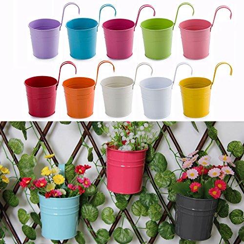 Captivating OGORI 10x Metal Iron Hanging Flower Pots Balcony Garden Pots Planters Wall  Hanging Metal Bucket Flower Holders