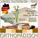 MF12+2 Orthopädische 140x200 Visco (RG 50) 2 cm + Kaltschaum (RG 30) Matratze, H3, mit Bamboo-Bezug, Höhe ca. 16 cm, für Allergiker und Verstellbaren Lattenrost Geeignet
