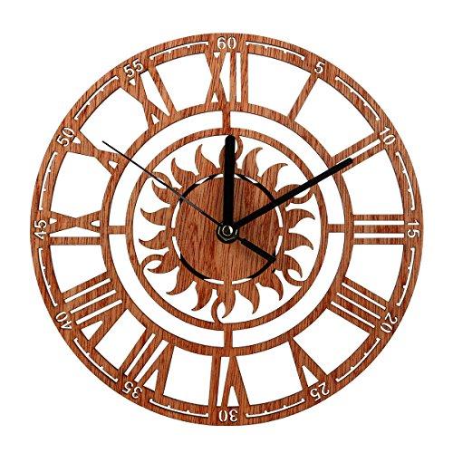 SODIAL Orologio Antico da Parete in Legno Shabby Chic Rustico da Cucina Antico