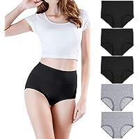wirarpa Culotte Femme Coton Taille Haute Slips Lot de 5