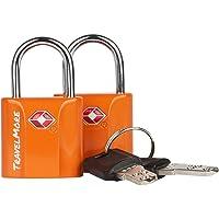 2er-Pack TSA-Schloss TSA-genehmigte Schlüsselschlösser für USA Flug-Reisen – Schloss mit Schlüsseln – Orange