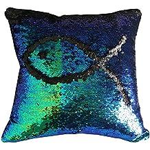 """Livedeal Pailletten-Kissen, Meerjungfrauen-Optik, wendbar, zweifarbig, 40x 40 cm, Textil, Mermaid and Black, 16 X 16"""""""
