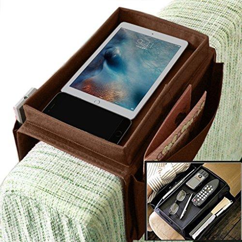 IPENNY Organizador de sofá y reposabrazos para Silla Soporte de Almacenamiento para el teléfono, Tableta, Cuaderno de Notas, revistas, DVD, Gafas, Bebidas, Aperitivos