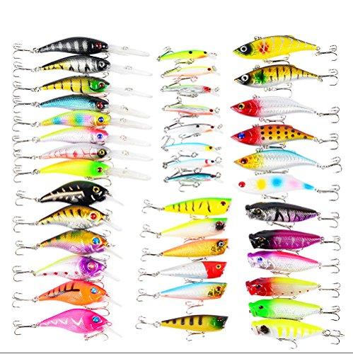 CFtrum 40 pcs Pesca Coloridos señuelos de Artificiales Cebos Trastos 3D Ojos de Pescados con anzuelos de Pesca de Accesorios