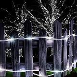 CLOOM Solar Hohlrohr Kupferdraht 10 Meter 100 LED Beleuchtung LED Stripes Lichterkette LED Band Streifen LED Leiste Lichtleiste, LED Bänder, Lichtschlauch Weiß Bunt Farbwechsel (Weiß)