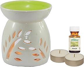 eCraftory Ceramic Aroma Oil Diffuser Burner Green Top Lemongrass Fragrances - 2 pcs Tealight Candles